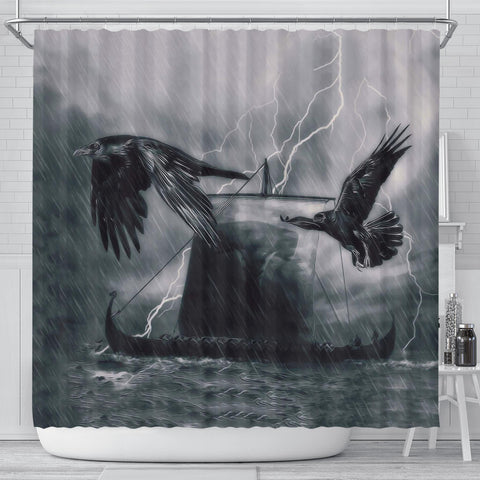 Image of 1stIceland Viking Shower Curtain, Odin's Raven Drakkar Mjolnir K4 - 1st Iceland