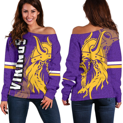 Vikings Women's Off Shoulder Sweater TH4 - 1st Iceland