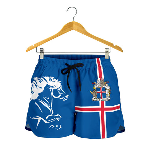 Image of 1stIceland Women Shorts, Icelandic Horse Flag Coat Of Arms K4 - 1st Iceland