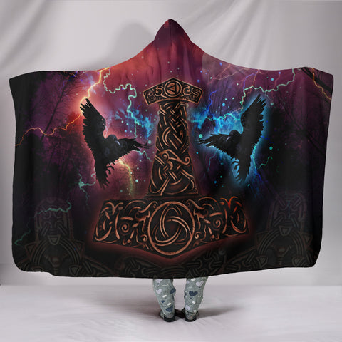 1stIceland Viking Hooded Blanket, Mjolnir Huggin And Muninn - 1st Iceland