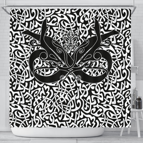 Image of 1stIceland Celtic Shower Curtain, Celtics Dragon Tattoo Th00 - White - 1st Iceland