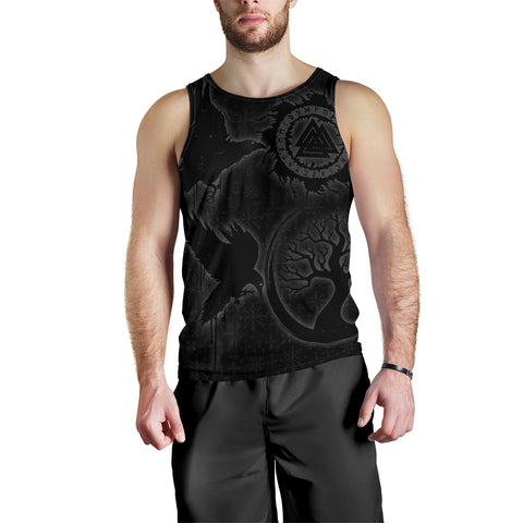 Image of 1stIceland Viking Valknut Huginn and Muninn Men Tank Top Yggdrasil, Vegvisir Helm of Awe - Black K8 - 1st Iceland