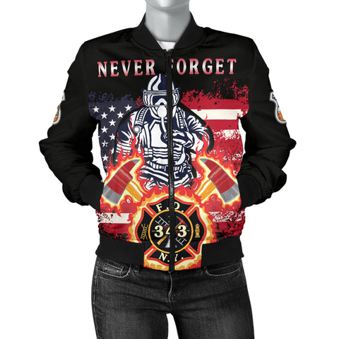 1stIceland American Firefighters Women Bomber Jacket 9.11.01 Memorial K8 - 1st Iceland