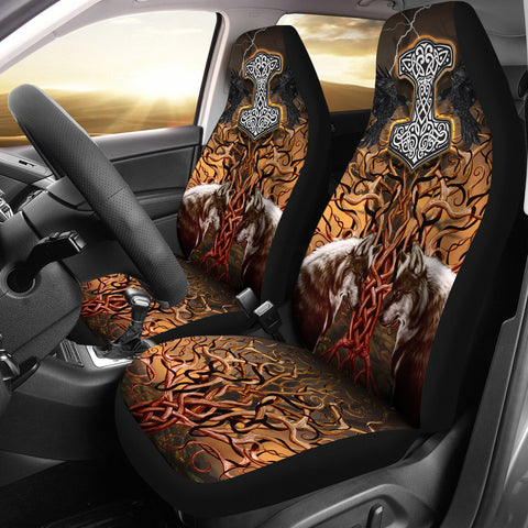 1stIceland Viking Car Seat Covers, Tree Of Life Fenrirs Mjolnir Ravens K4 - 1st Iceland