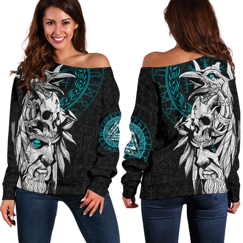 1stIceland Viking Odin And Raven Turquoise Women Off Shoulder Sweater TH12 - 1st Iceland