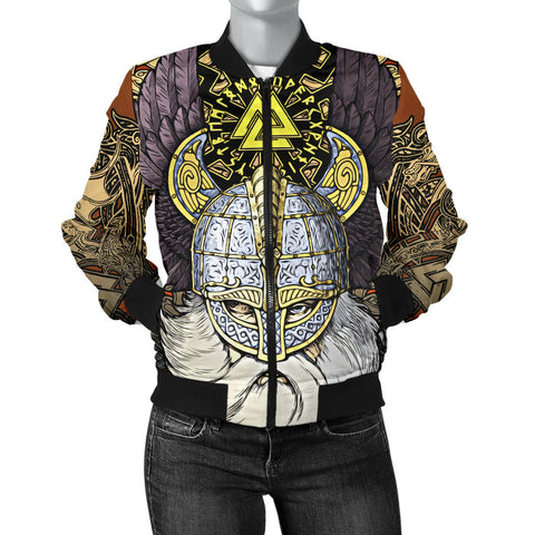 1stIceland Viking Women's Bomber Jacket, Odin Norse Mythology Runes Valknut Th00 - 1st Iceland