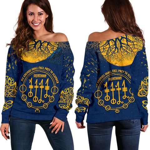 1stIceland Viking Svefnthorn Off Shoulder Sweater, Raven The Moonlight K13 - 1st Iceland