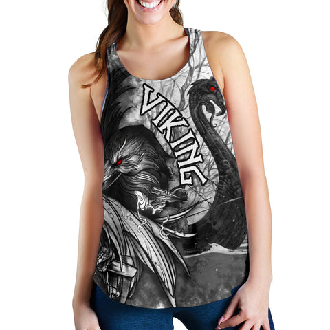 Image of 1stIceland Viking Women's Racerback Tank Raven And Drakkar TH12 - 1st Iceland