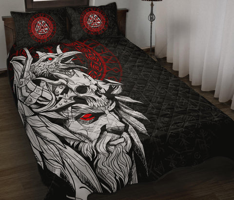 Image of 1stIceland Viking Odin And Raven Quilt Bed Set