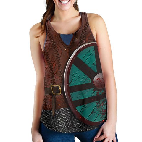1stIceland Viking Women Racerback Tank, Shield Maiden Lagertha K4 - 1st Iceland