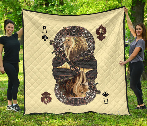 1st Iceland King Ace Spade Lion Poker Premium Quilt TH12 - 1st Iceland