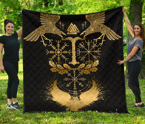 Image of 1stIceland Viking Oak Leaf Premium Quilt Valknut Vegvisir With Irminsul - Gold No.1 K8 - 1st Iceland