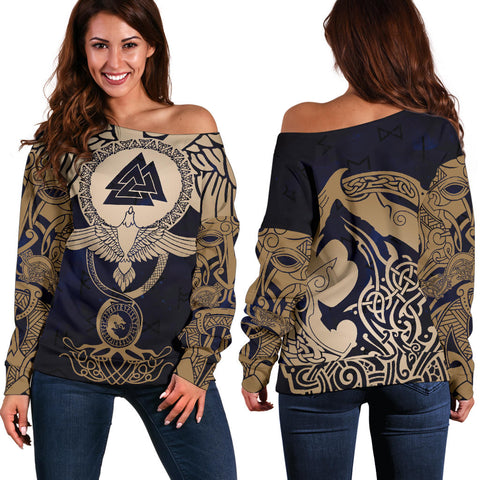 1stIceland Viking Off Shoulder Sweater, Wolf Celtic Galaxy J1 - 1st Iceland