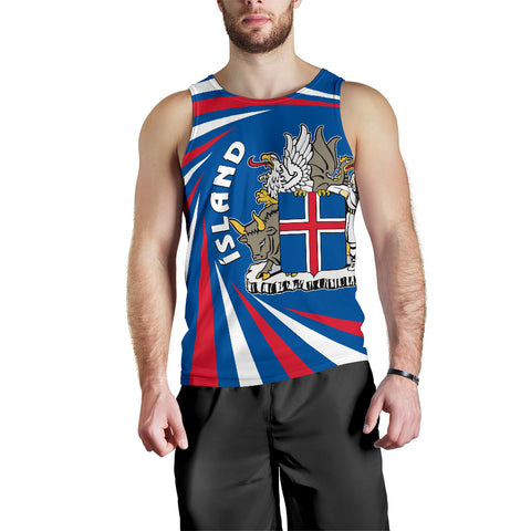 1stIceland Iceland Men Tank Top Coat Of Arms Creative Vibes - Blue