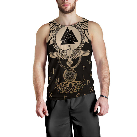 1stIceland Viking Men Tank Top, Flying Raven Tattoo And Valknut Gold - 1st Iceland
