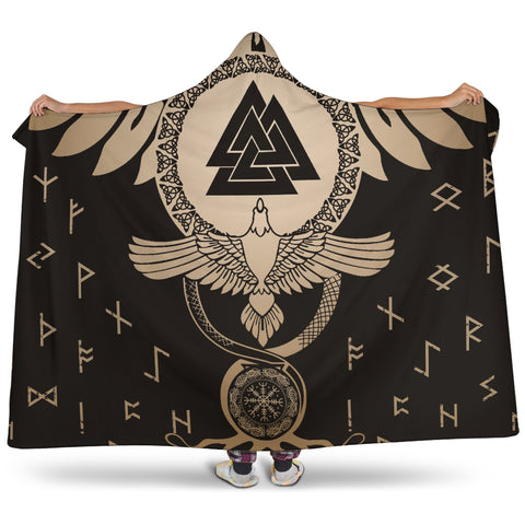 1stIceland Viking Hooded Blanket, Flying Raven Tattoo And Valknut Gold - 1st Iceland