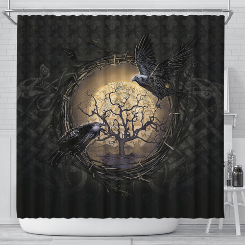 1stIceland Viking Shower Curtains, Odin's Raven Tree Of Life Valknut Rune Circle K6 - 1st Iceland