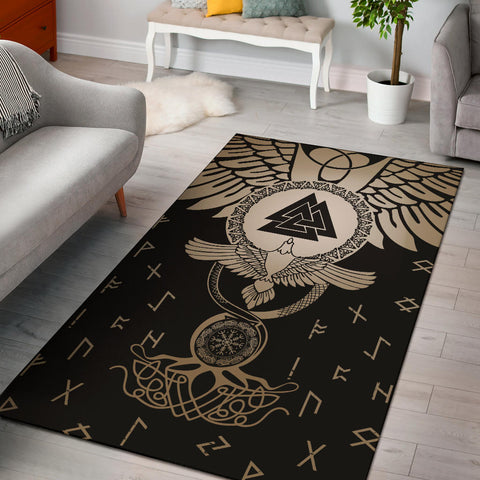 1stIceland Viking Area Rug, Flying Raven Tattoo And Valknut Gold - 1st Iceland