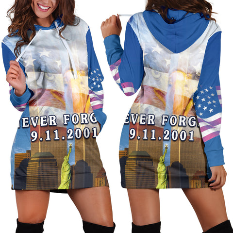 Image of 1stIceland American Firefighters Women Hoodie Dress 9.11.01 Gratitude K8 - 1st Iceland