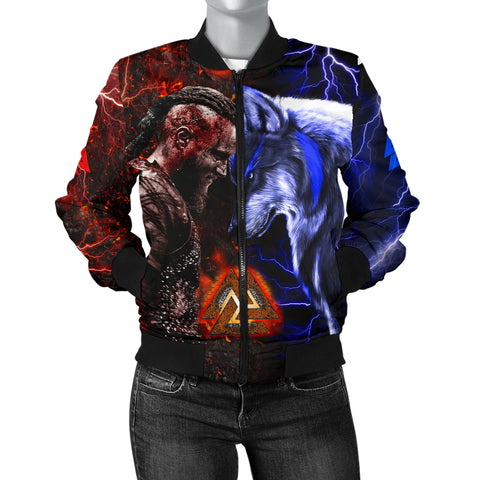 Image of 1stIceland Viking Women's Bomber Jacket Ragnar and Wolf TH12 - 1st Iceland
