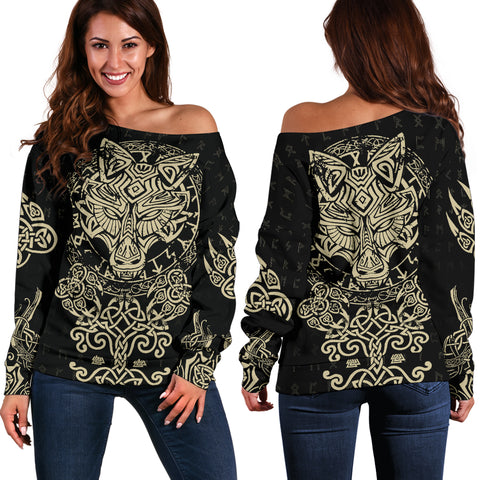 Image of 1stIceland Viking Wolf Fenrir Women Off Shoulder Sweater TH12 - 1st Iceland