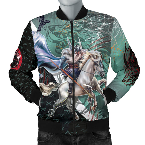 Image of The Viking Runes Men Bomber Jacket Odin And Sleipnir K13 - 1st Iceland