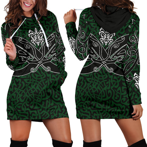 Image of 1stIceland Celtic Women Hoodie Dress, Celtics Dragon Tattoo Th00 - Green - 1st Iceland