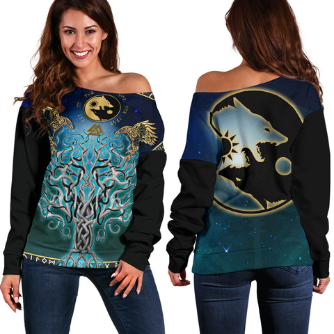 1stIceland Viking Off Shoulder Sweater, Tree Of Life Fenrir Skoll And Hati Raven Rune TH00 - 1st Iceland