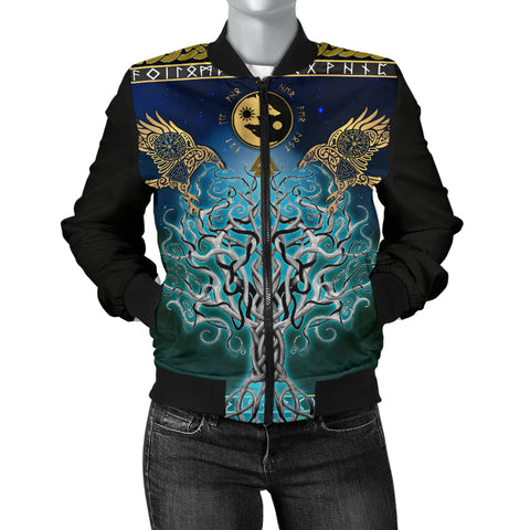 1stIceland Viking Women's Bomber Jacket, Tree Of Life Fenrir Skoll And Hati Raven Rune TH00 - 1st Iceland