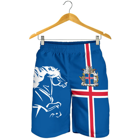 1stIceland Men Short, Icelandic Horse Flag Coat Of Arms K4 - 1st Iceland