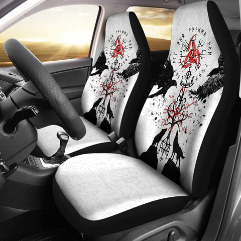 Image of 1stIceland Viking Car Seat Cover, Vegvisir Hugin and Munin with Fenrir Yggdrasil K4 - 1st Iceland