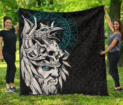 1stIceland Viking Odin And Raven Turquoise Premium Quilt TH12 - 1st Iceland