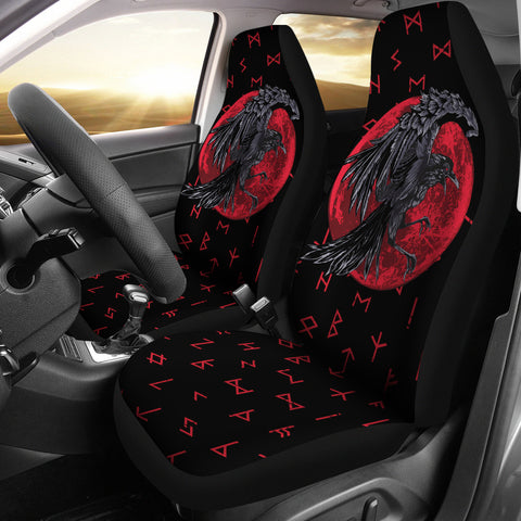 Image of 1stIceland Viking Car Seat Covers , Odin Raven with Blood Moon Th5 - 1st Iceland