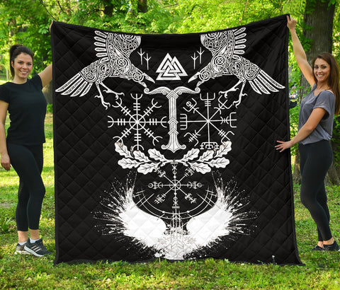 1stIceland Viking Oak Leaf Premium Quilt Valknut Vegvisir With Irminsul - Black No.1 K8 - 1st Iceland