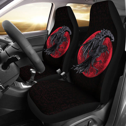 1stIceland Viking Car Seat Covers, Odin's Raven Futhark Norse Red Moon Nn8 - 1st Iceland