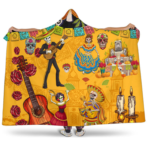 Image of 1stIceland Mexican Día de Muertos Hooded Blanket Cempasúchil Flowers K8 - 1st Iceland