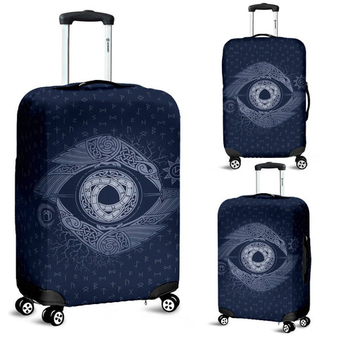 1stIceland Viking Luggage Cover, Odin's Eye Ravens Runes Nn8 - 1st Iceland