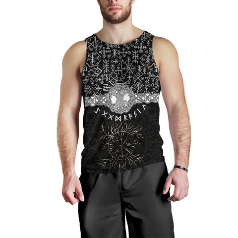 1stIceland Viking Men's Tank Top - Askr Yggdrasils Runes K7 (Black) - 1st Iceland