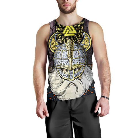 1stIceland Viking Men's Tank Top, Odin Norse Mythology Runes Valknut Th00 - 1st Iceland