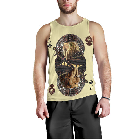 1stIceland King Ace Spade Lion Poker Men's Tank Top TH12 - 1st Iceland