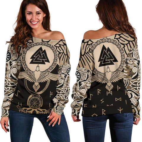 1stIceland Viking Off Shoulder Sweater, Flying Raven Tattoo And Valknut Gold - 1st Iceland