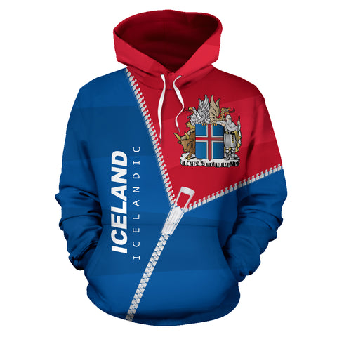 Image of 1stIceland Pullover Hoodie, Iceland Coat Of Arms Curve Zipper Style K5 - 1st Iceland