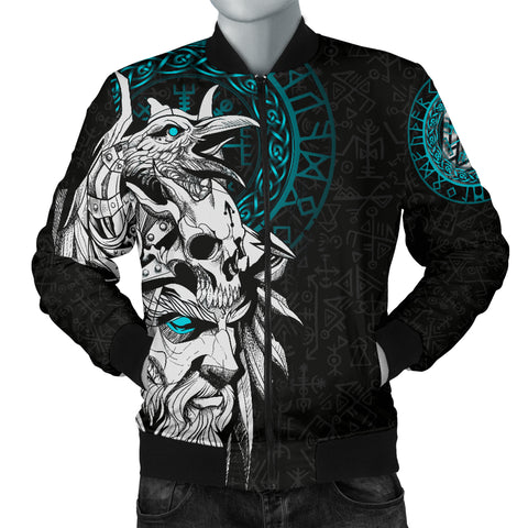 1stIceland Viking Odin And Raven Turquoise Men Bomber Jacket TH12 - 1st Iceland