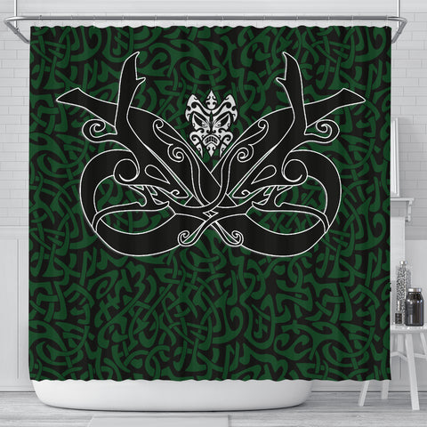 Image of 1stIceland Celtic Shower Curtain, Celtics Dragon Tattoo Th00 - Green - 1st Iceland