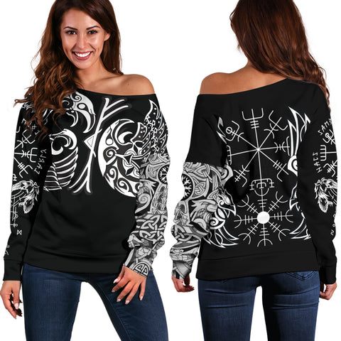 1sticeland Vikings Off Shoulder Sweater, Huginn and Muninn The Odin Raven Th00 - 1st Iceland