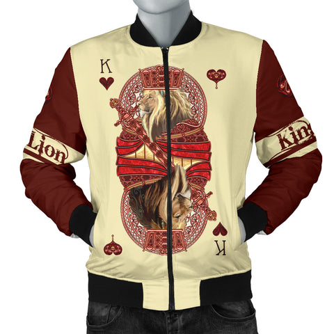 Image of 1stIceland King Hearts Lion Poker Men Bomber Jacket TH12 - 1st Iceland