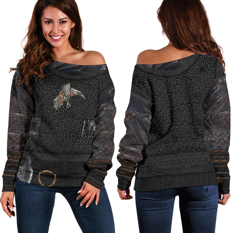 1stIceland Vikings Off Shoulder Sweater, New Raven 3D Armour Th00 - 1st Iceland