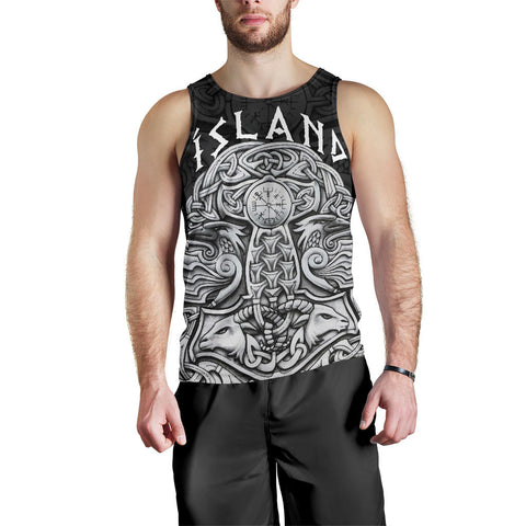 1stIceland Viking Men's Tank Top, Odin's Raven Mjolnir Helm Of Awe K4 - 1st Iceland