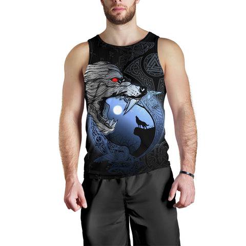 1stIceland Viking Moon Wolf Men's Tank Top TH12 - 1st Iceland