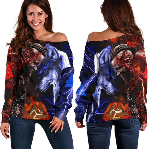 Image of 1stIceland Viking Women's Off Shoulder Sweater Ragnar and Wolf TH12 - 1st Iceland